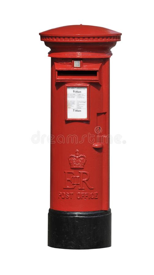 Red British street Post Box. Elizabeth II red post office mail box cut out isolated on white background royalty free stock image