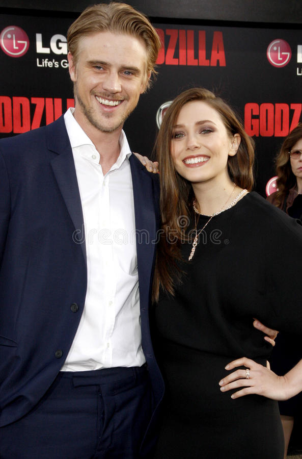 Elizabeth Olsen and Boyd Holbrook. At the Los Angeles premiere of Godzilla held at the Dolby Theatre in Los Angeles on May 8, 2014 in Los Angeles, California stock images