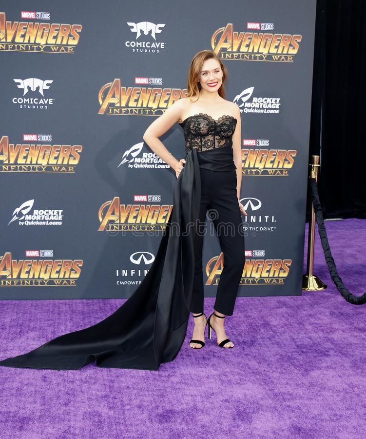 Elizabeth Olsen. At the premiere of Disney and Marvel`s `Avengers: Infinity War` held at the El Capitan Theatre in Hollywood, USA on April 23, 2018 stock photography