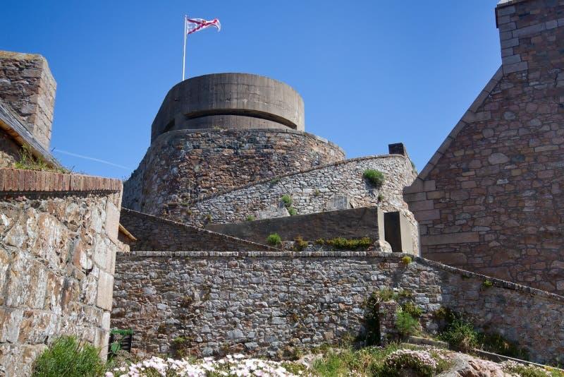 Elizabeth-Schloss auf der Insel von Jersey lizenzfreie stockfotografie