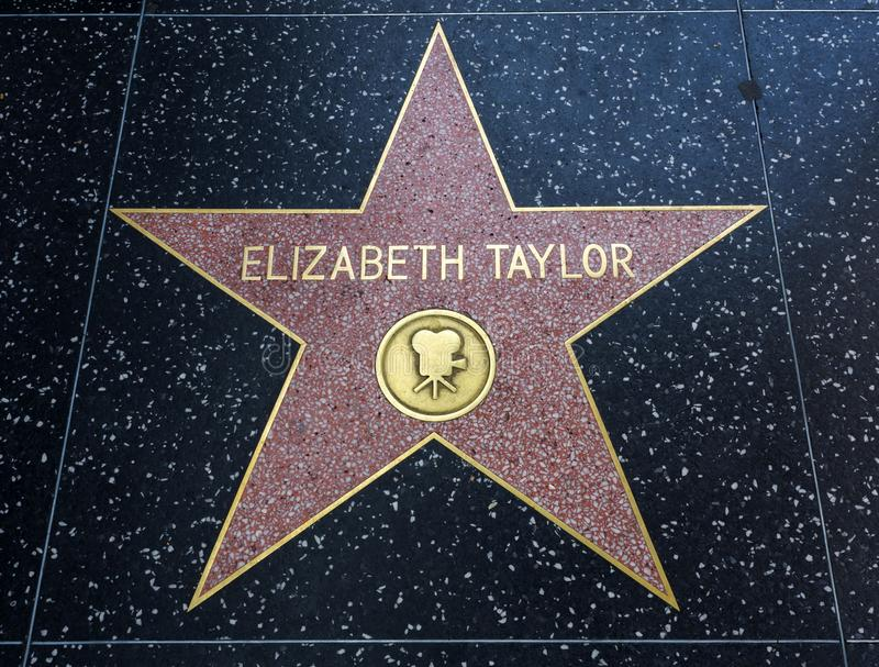 Elizabeth Taylor`s Star, Hollywood Walk of Fame - August 11th, 2017 - Hollywood Boulevard, Los Angeles, California, CA royalty free stock images