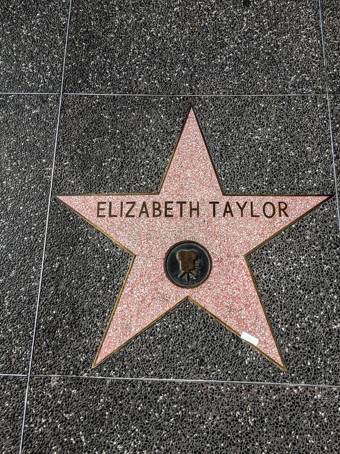 Elizabeth Taylor Star op Hollywood-Gang van Bekendheid royalty-vrije stock afbeelding