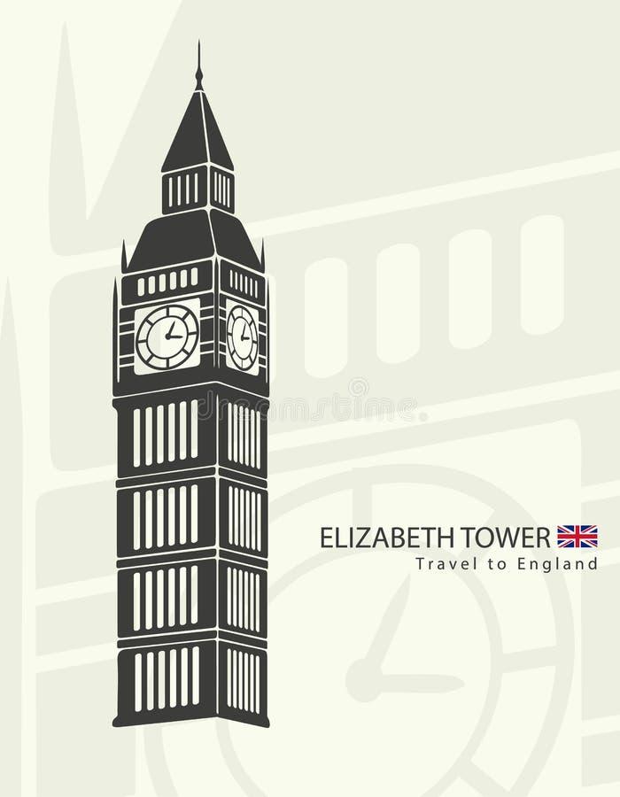Elizabeth wierza zegaru big ben ilustracji