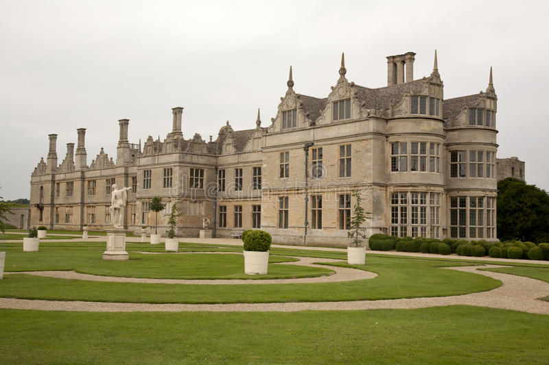 Elizabethan Mansion. Kirby Hall and Formal Gardens Northamptonshire royalty free stock images