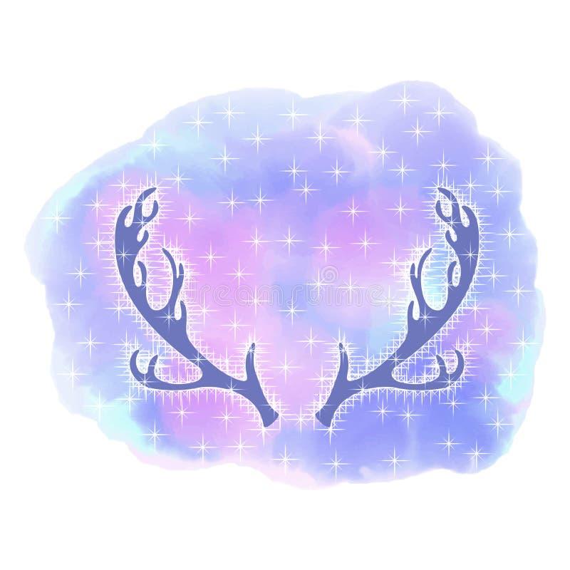 Elk antlers. Deer head. Abstract background watercolor style royalty free illustration