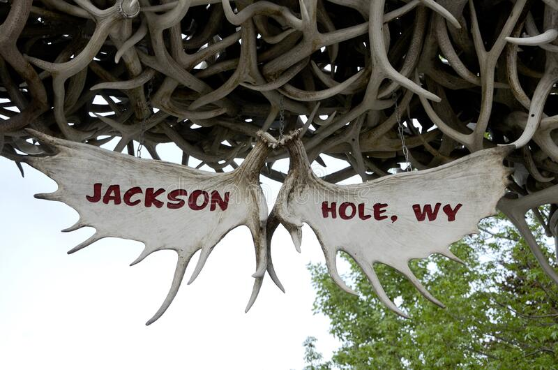 Elk antlers with the name of the city Jackson Hole. Wyoming United States royalty free stock photo