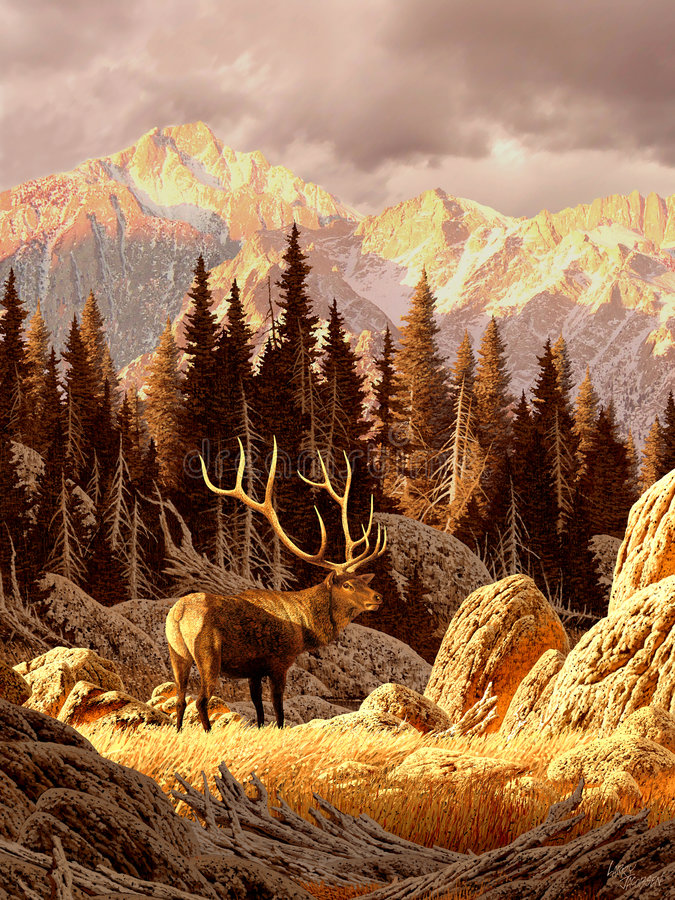 Elk Bull. Image from an original painting by Larry Jacobsen. / AF-021