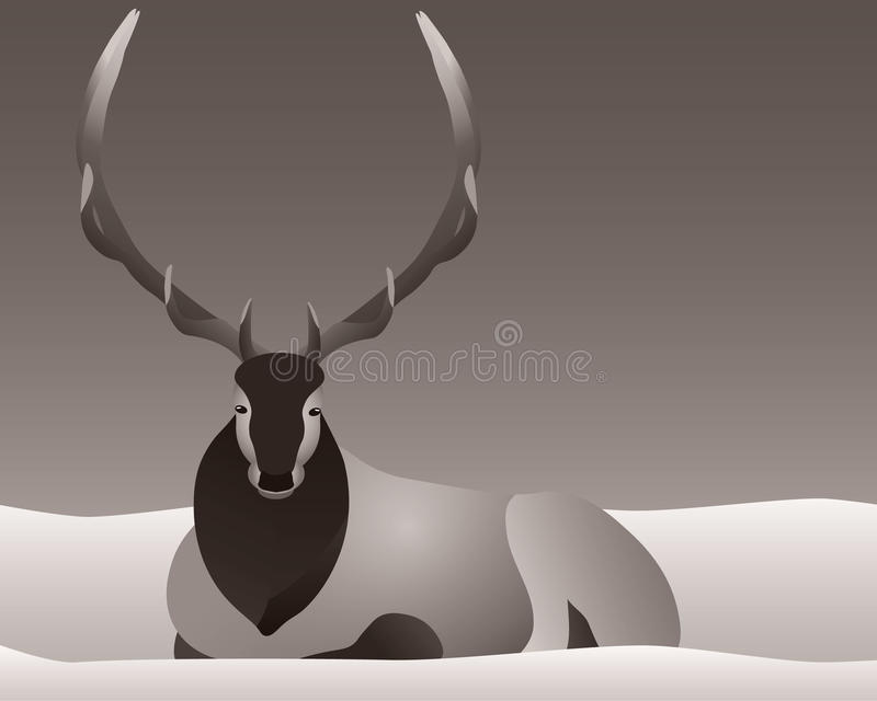 Elk laying in the snow with horns or antlers. Elk or deer laying in the snow with a full rack of horns or antlers vector illustration a brown background stock illustration