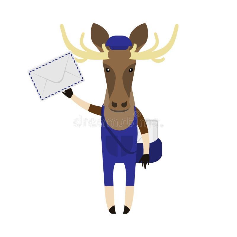 Elk with post envelope royalty free illustration