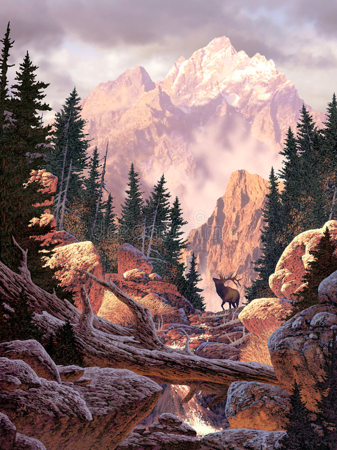 Download Elk in the Rockies stock illustration. Illustration of canyon - 503816