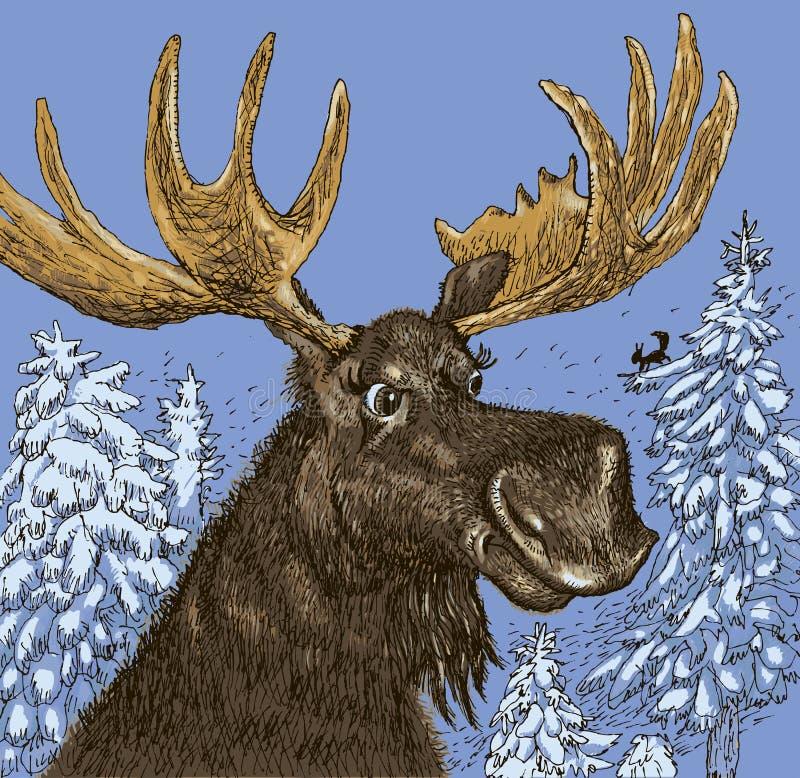 Elk in the winter wood. Vector format royalty free illustration