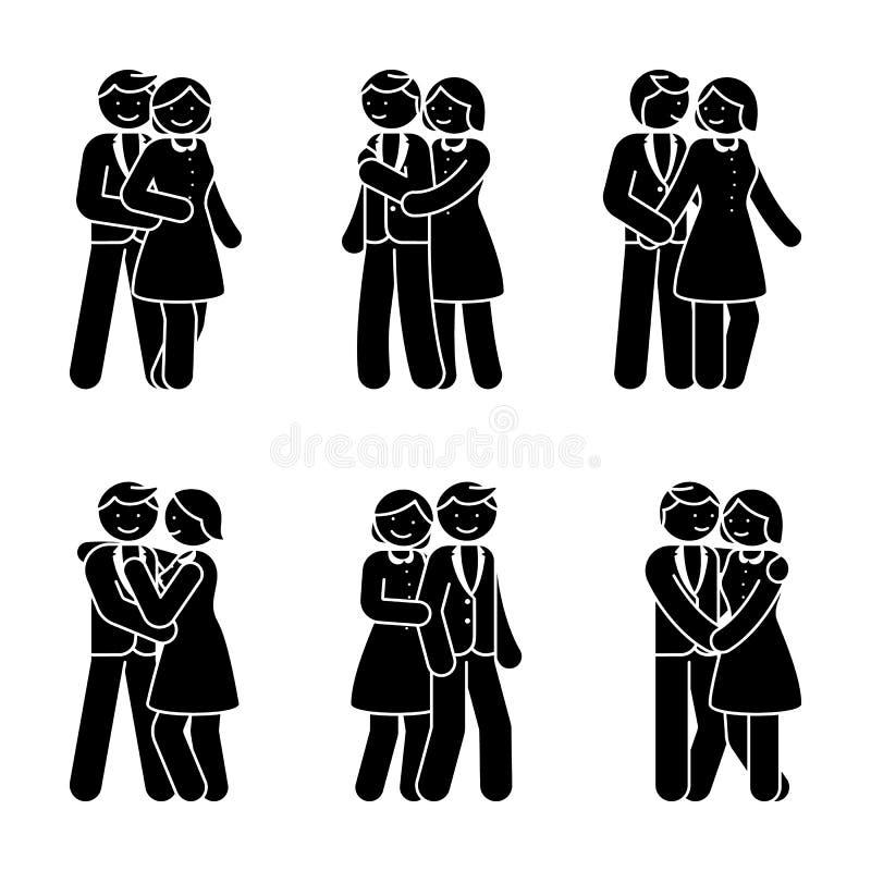 Elkaar omhelst het gelukkige paar van het stokcijfer Glimlachende man en vrouw in liefde vectorillustratie royalty-vrije illustratie