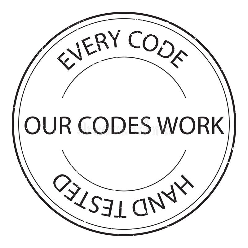 Elke code onze codes werken stempel royalty-vrije illustratie