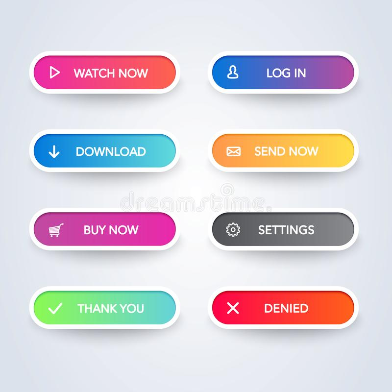 Set of colorful modern material style buttons on white background. Different flat line gradient colors and icons collection. Vecto vector illustration