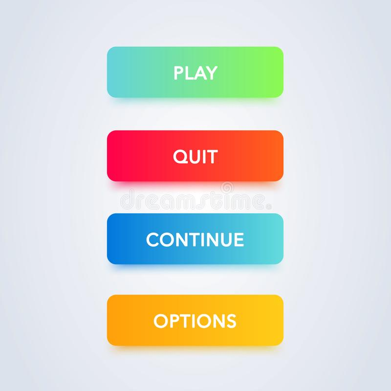 Colorful button set on white background. Flat line gradient button collection. Vector web element stock illustration