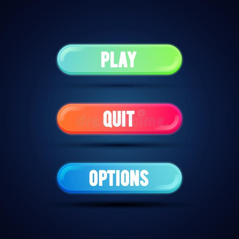 Vector illustration game UI set of buttons. GUI to build games. Modern flat gradient coloful button for mobile, web or video games royalty free illustration
