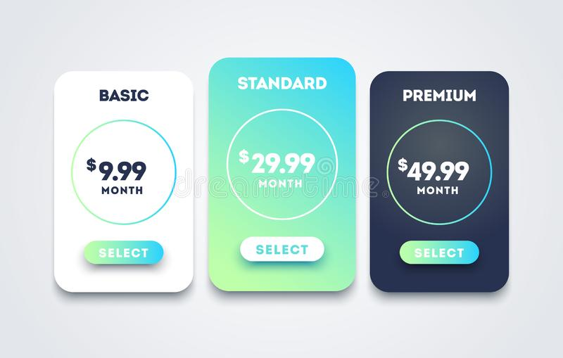 Vector pricing table set design for business. Price plan web hosting or service. Table chart comparison of tariff. Cool Vector pricing table set design for vector illustration
