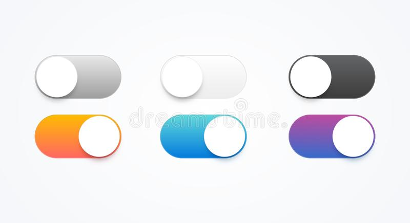 Vector illustration On and Off toggle switch buttons. Colorful material design switch button set. royalty free illustration