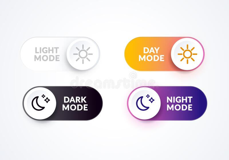 Vector illustration day and night mode switch set. Simple concept of interface ui symbol. On Off or Light and Dark Buttons. Vector illustration cool day and vector illustration