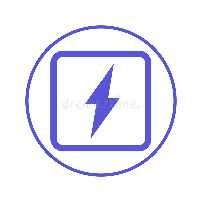 Elkraft rund linje symbol för blixtbult Runt tecken Plant stilvektorsymbol stock illustrationer