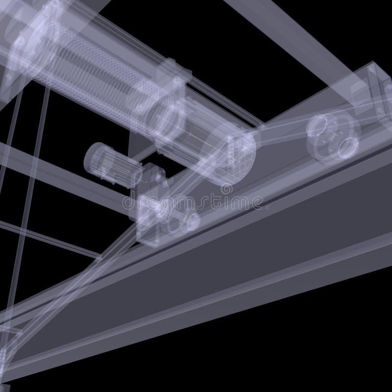 Elkraften hissar. Röntgenstrålen framför stock illustrationer