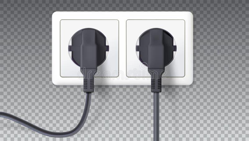elkraften plugs stickkontakten Realistiska svartproppar som sätts in i vitt elektriskt uttag som isoleras på genomskinligt Vektor stock illustrationer