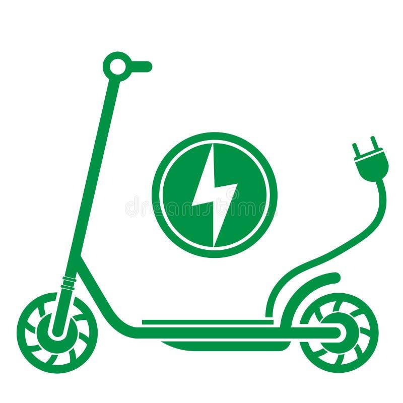 Elkraften skjuter sparkcykele-sparkcykel symbol med proppen vektor illustrationer