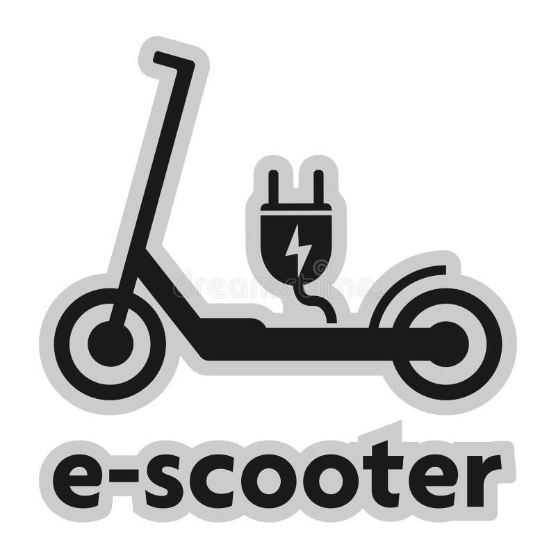 Elkraften skjuter sparkcykele-sparkcykel symbol med proppen stock illustrationer