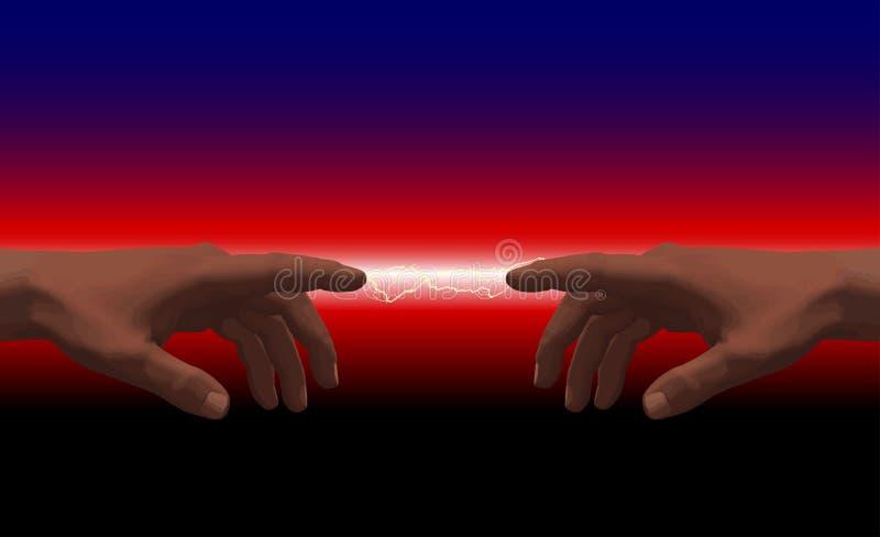 Elkrafthänder som en övergående bakgrund för abstrakt elektricitet royaltyfri illustrationer