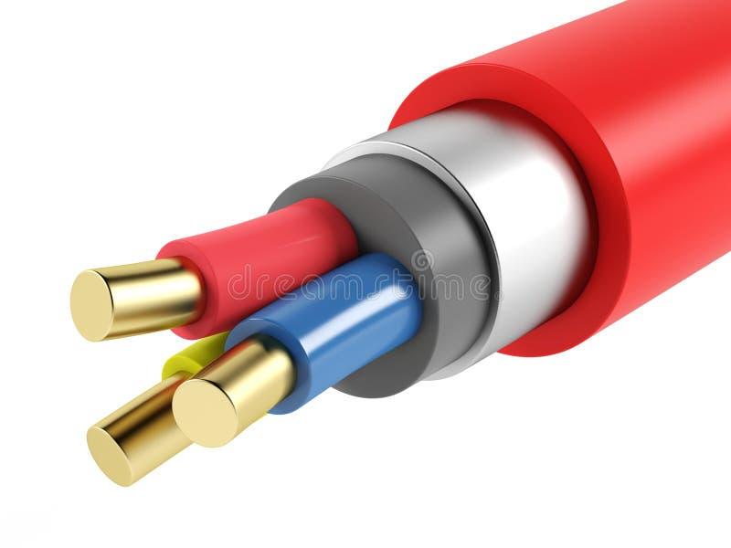Elkraftkopparbepansrad kabel vektor illustrationer