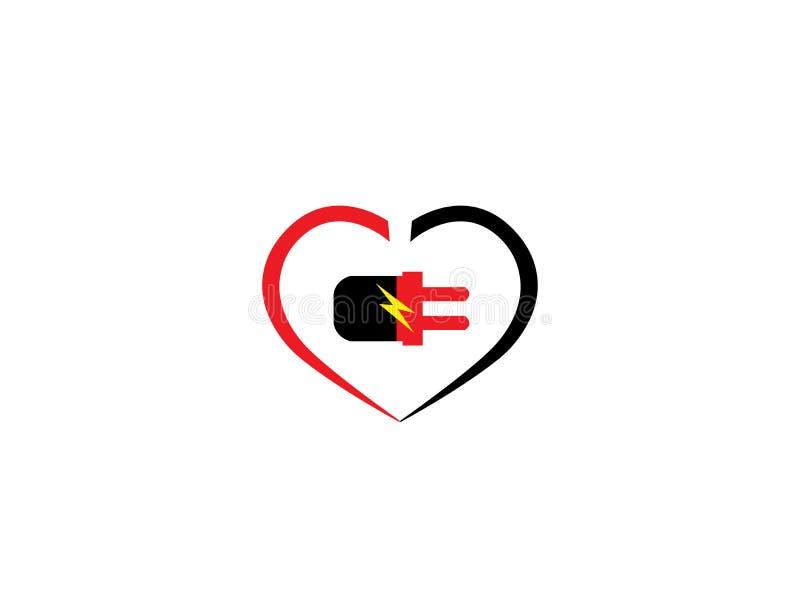 Elkraftman och kvinnligt i hjärtan för logodesign royaltyfri illustrationer