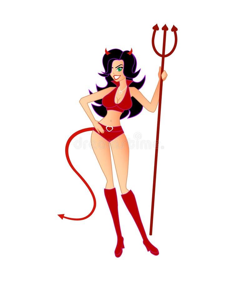 Ella-Diablo caliente, atractivo (aislado) stock de ilustración