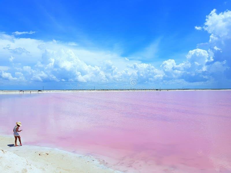 Ella esa los viajes conoce lejos mucho Laguna de la sal en Las Coloradas Yucatán México imagen de archivo libre de regalías