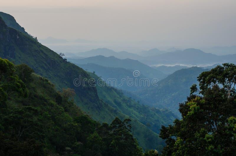 Ella Gap, Sri Lanka. The Ella Gap in ella town at dawn, Southern Highlands, Sri Lanka royalty free stock images