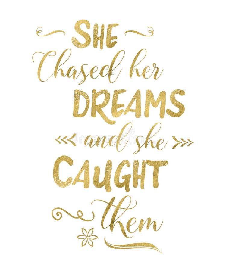 Ella persiguió sus sueños y ella los cogió ilustración del vector