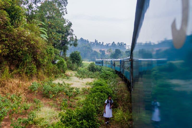 ELLA SRI LANKA - JULI 15, 2016: Flicka i en skolalikformig att promenera järnvägsspår nära Ella, Sri LAN fotografering för bildbyråer
