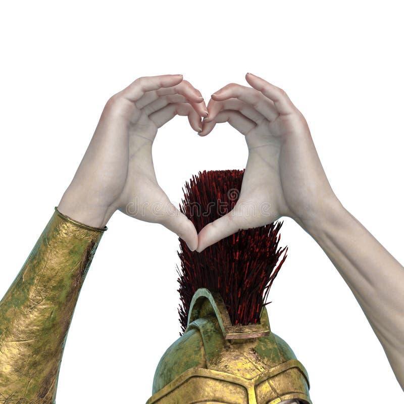 Elle est la main spartiate de coeur de soldat à un arrière-plan blanc illustration stock