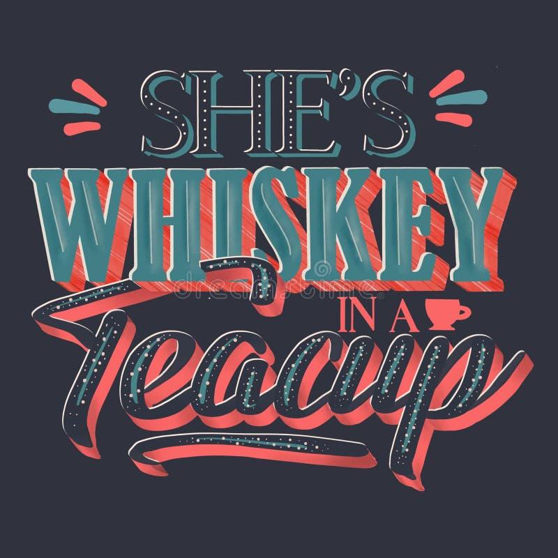 Elle est whiskey dans une tasse de thé illustration stock