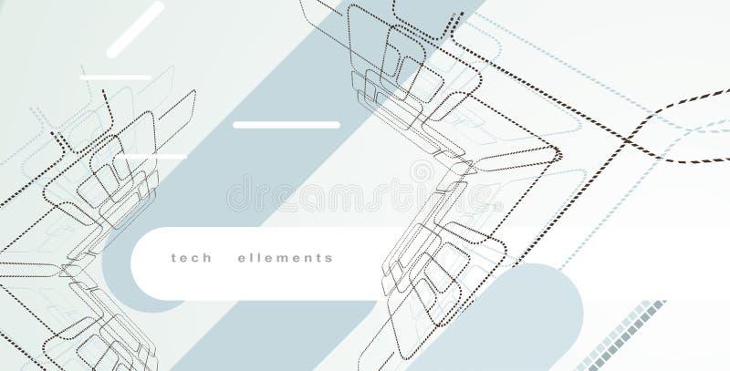 Ellements di disegno di tecnologia illustrazione vettoriale