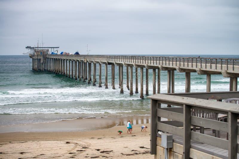 Ellen Browning Scripps Memorial Pier, praia de La Jolla - San Diego imagem de stock
