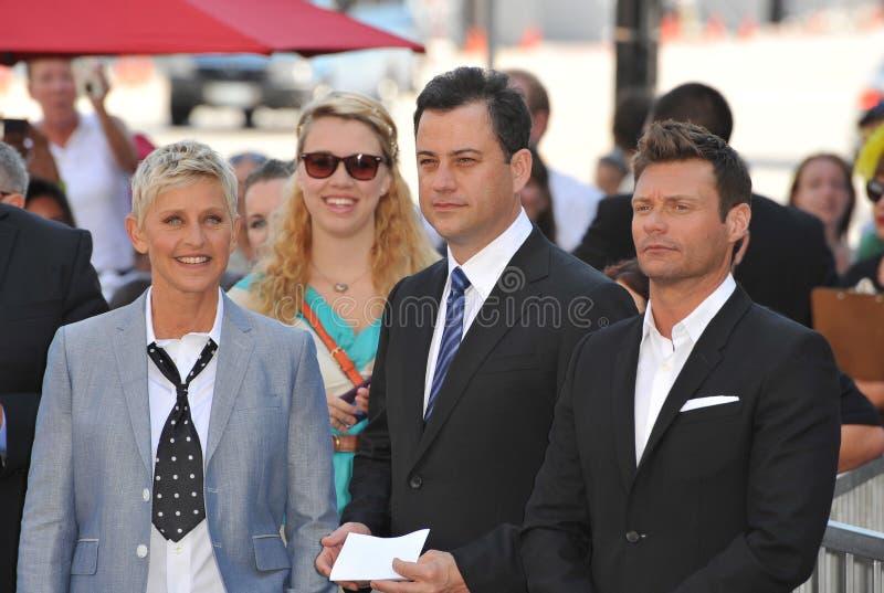 Ellen De Generes,Jimmy Kimmel royalty free stock image