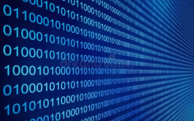 01 eller binära data på datorskärmen, 3d framför royaltyfri illustrationer