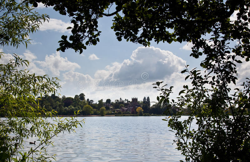 Download Ellesmere Town And Church Framed By Trees Stock Image - Image: 9934945