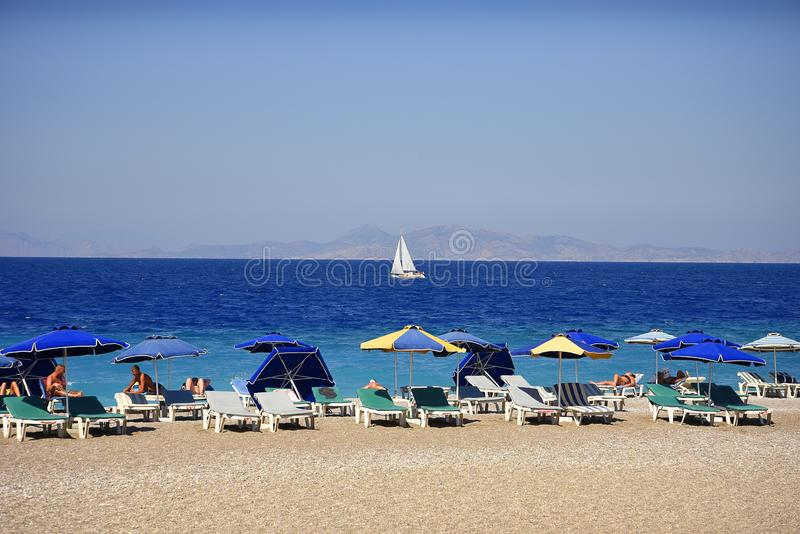 Ellie Beach which is the nearest beach to Rhodes Town and is popular with locals and tourists alike royalty free stock photo