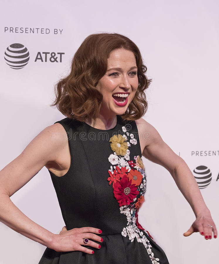 Ellie Kemper at the 2017 Tribeca Film Festival Screening of `Unbreakable Kimmy Schmidt`. Actress Ellie Kemper arrives for the 2017 Tribeca Film Festival royalty free stock image