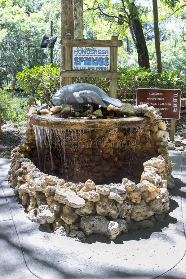 Ellie Schiller Homosassa Springs State Park. The famous welcome water feature at the entrance of the Ellie Schiller Homosassa Springs State Park royalty free stock photos