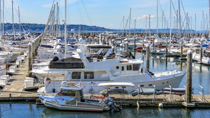 Elliot Bay Marina lizenzfreies stockbild