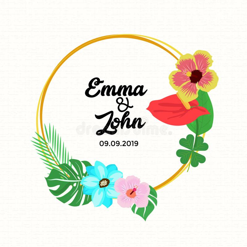 Ellips frame wedding card with tropical flowers royalty free stock image