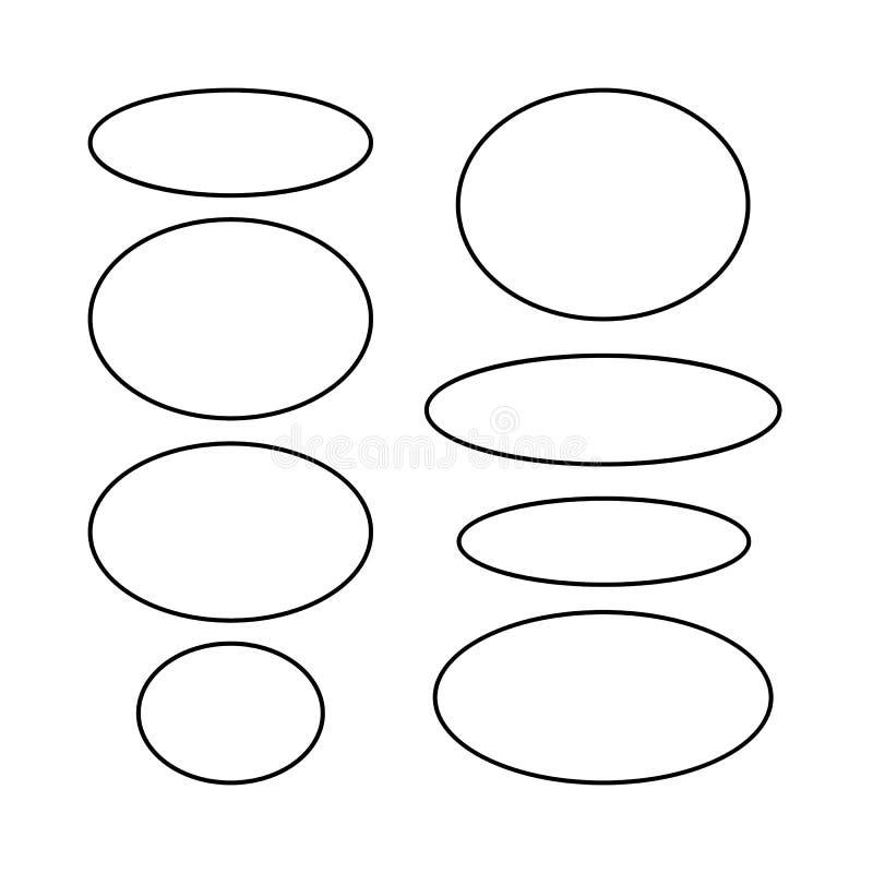 Ellips vectoroverzicht Reeks zwarte ellips grunge kaders Ovale lege grenzen Vector illustratie royalty-vrije illustratie