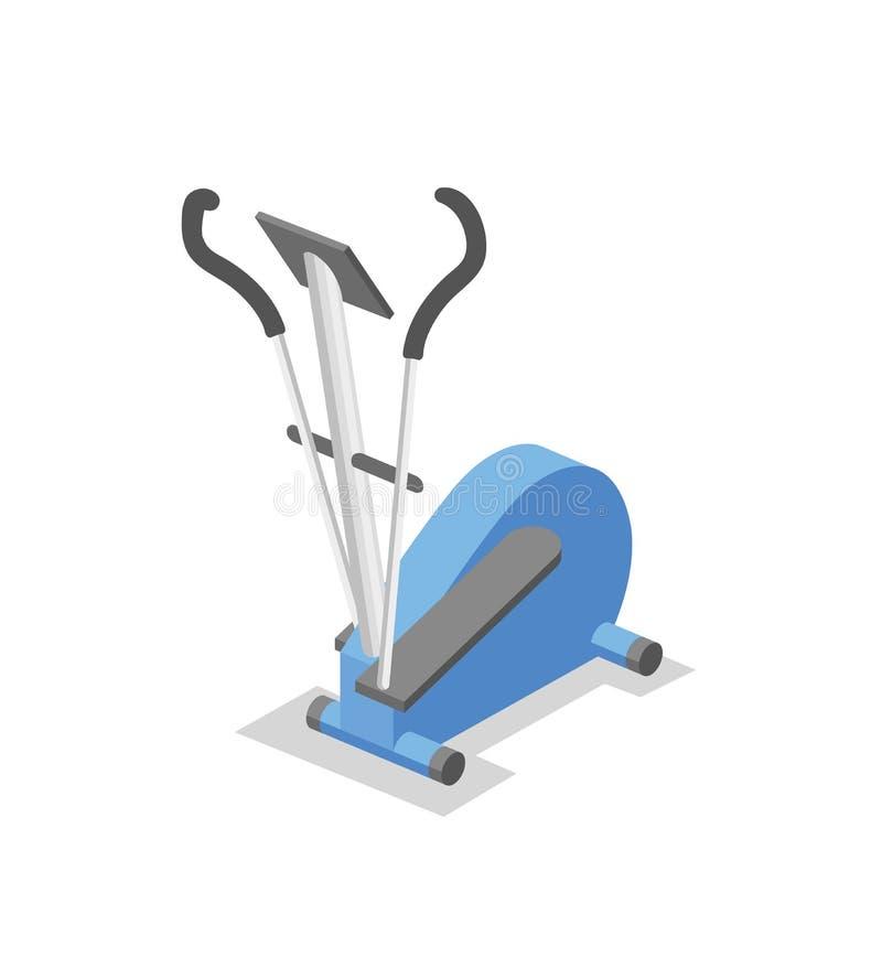 Ellipsformig instruktör, utbildande apparatur för idrottshallen Isometrisk illustration för konditionutrustning Plan vektorillust royaltyfri illustrationer